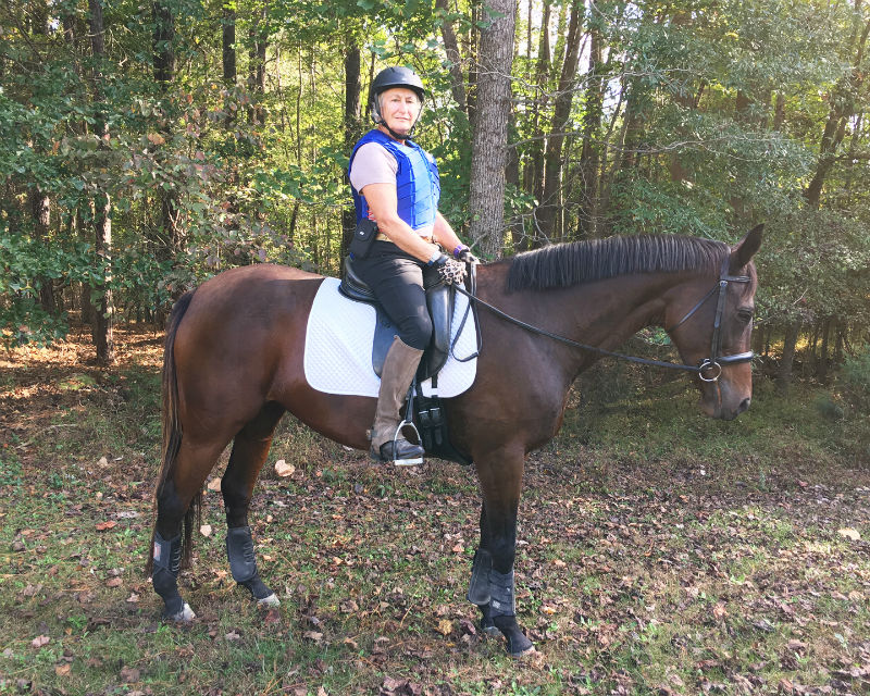 When Yes Virginia and owner Sarah Blanchard aren't competing in dressage, they log trail riding hours as part of the Thoroughbred Recreational Riding Incentive Program