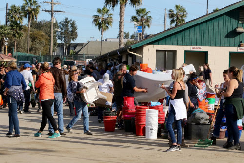 Volunteers and supplies at Del Mar after the San Luis Rey Training Center fire