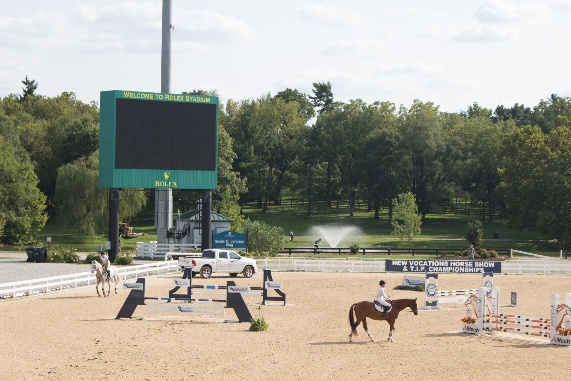 Horses in Rolex Stadium at the New Vocations Charity Thoroughbred Show/T.I.P. Championships