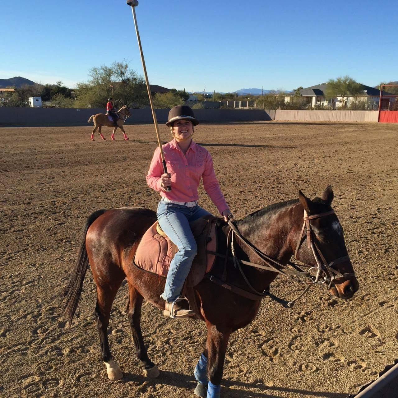 Jockey Megan Fadlovich riding at Polo Azteca Club & Academy in Arizona