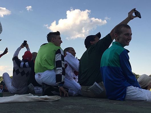 Monmouth jockeys watch Haskell.