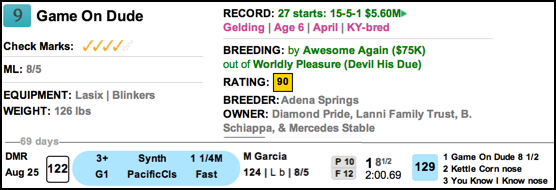 TimeformUS PPs for Game on Dude